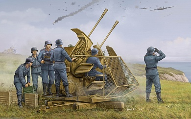 02347 Зенитное орудие  German 37mm Flak 43 Zwilling  Trumpeter